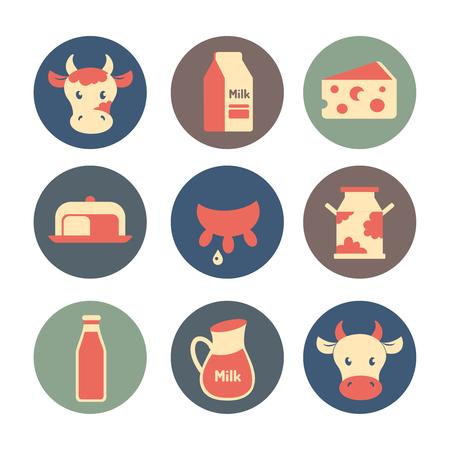 Les produits laitiers et les produits laitiers icônes plates fixées