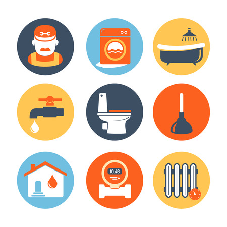 tools icon: Plumbing and engineering icons set Illustration