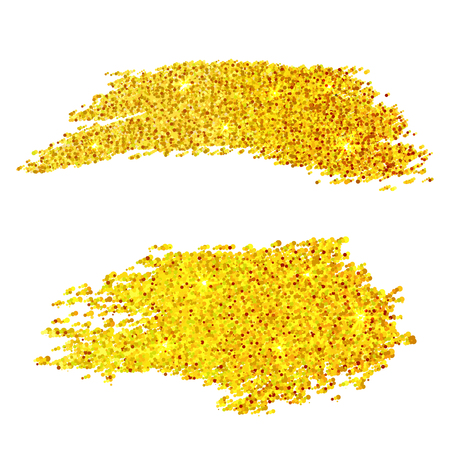 Golden glitter samples isolated on white background