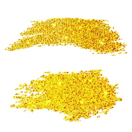 Golden glitter samples isolated on white background
