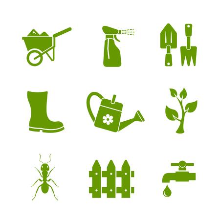 crop sprayer: Gardening icons set