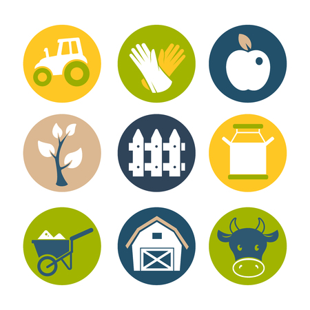 agrimotor: Farm flat icons set