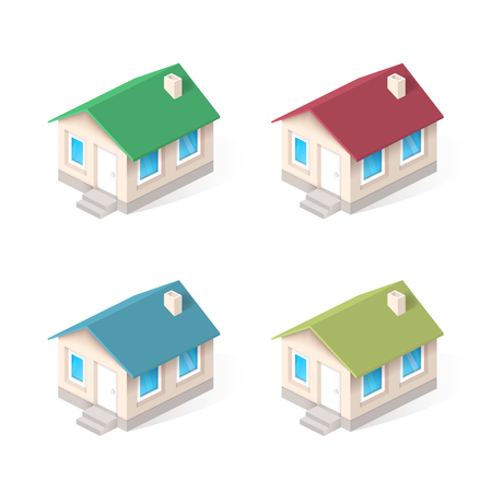 concrete stairs: House isometric vector icons set Illustration