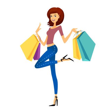 niña de tiendas de moda. Hermosa mujer con bolsas de la compra. Shopper en el fondo blanco
