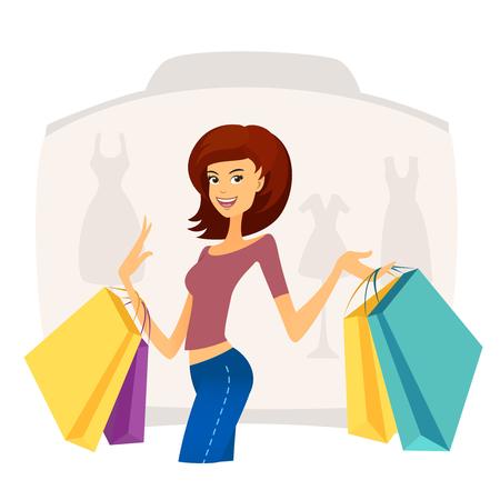 Happy mooie jonge vrouw met boodschappentassen in winkelcentrum