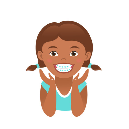 braces: Children braces happy african american girl with white smile teeth