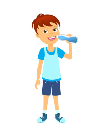 cartoon kid: Happy boy with bottle children drinking water Illustration