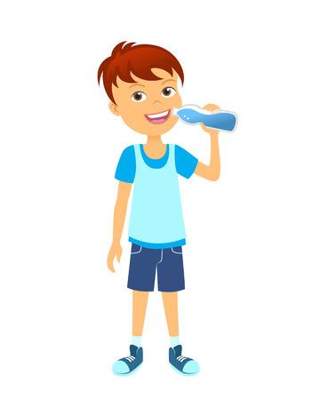 agua potable: Niño feliz con los niños de la botella de agua potable