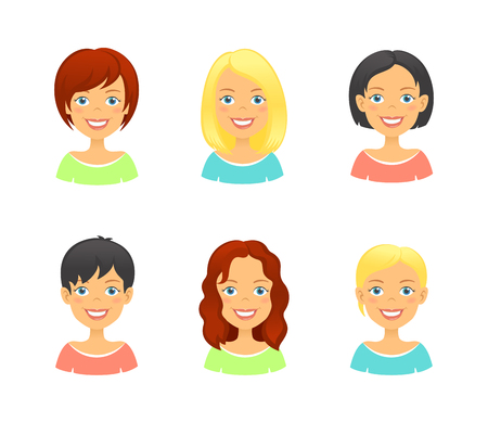 short: Women faces. Woman hair styles of different types and colors. Girl face avatar set Illustration