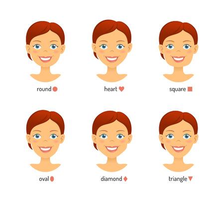 Vrouwelijke gezichtsvormen instellen. Dames worden geconfronteerd met verschillende typen Vector Illustratie