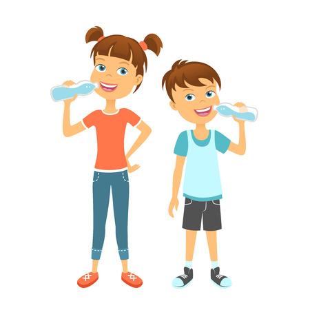 girl drinking water: Happy children drinking water. Kids drink water