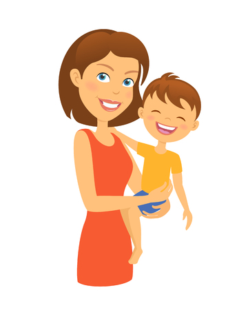nursing mother: Mother with child. Happy family. Mother and son