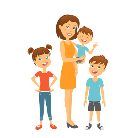 nursing sister: Mother with kids happy family. Mother and children
