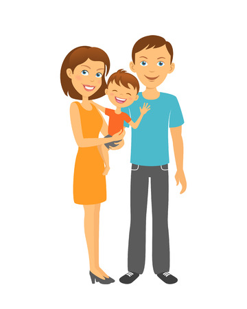 firstborn: Mother and father with baby. Happy family. Parents with kid Illustration