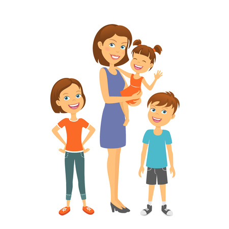 sisters: Mother with kids. Happy family. Mother with children Illustration