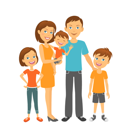 kinder: Parents with kids Happy family. Mother and father with children Illustration