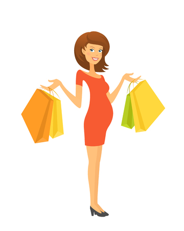 shopping mall: Beautiful pregnant woman with shopping bags