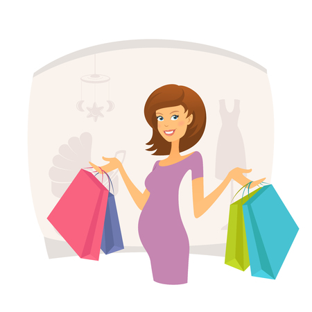 shopping mall: Happy pregnant woman with shopping bags