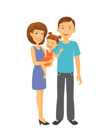 firstborn: Mother and father with baby. Happy family. Parents with daughter