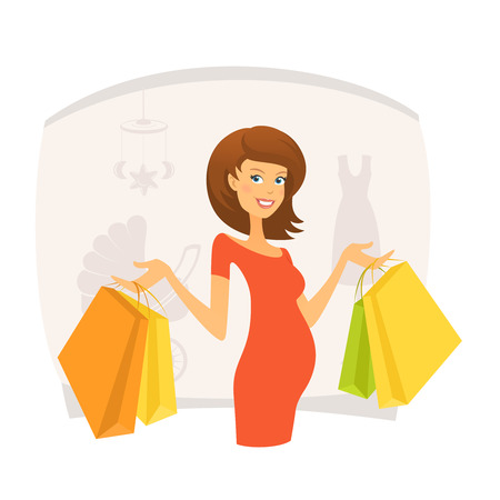 shopping mall: Beautiful pregnant woman with shopping bags in shopping mall Illustration