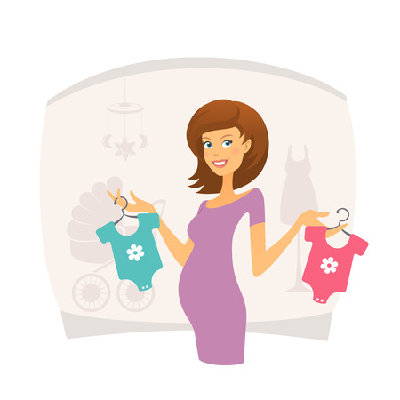 shopping mall: Happy pregnant woman with baby clothes Illustration