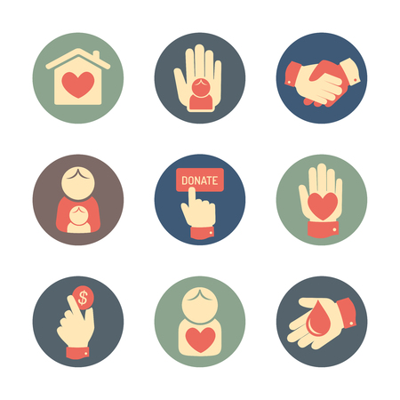 Carità e donazione set di icone di stile piatta