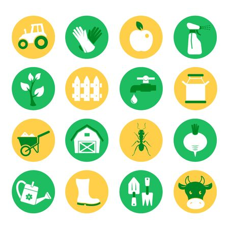 crop sprayer: Farm and ranch. Gardening icons set Illustration