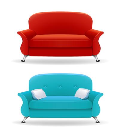 living room sofa: Interior design with realistic sofa