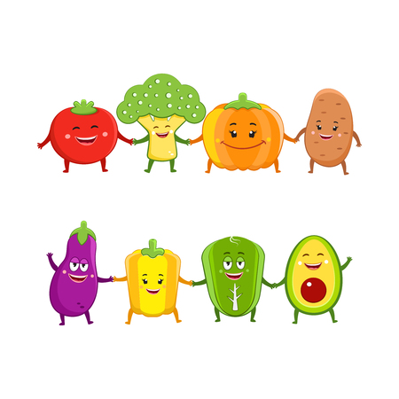 Funny vegetables characters cartoon illustration