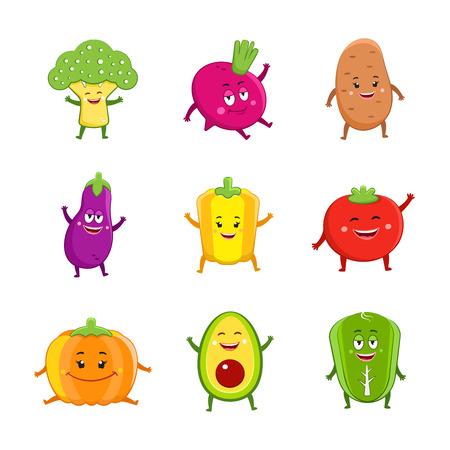 Funny vegetables characters cartoon set