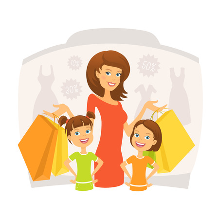 happy shopper: Happy woman with kids on shopping
