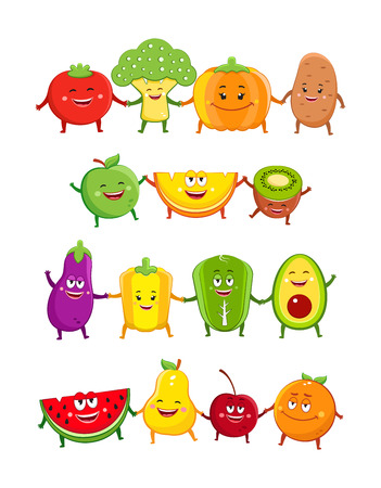 Funny fruits and vegetables characters cartoon illustration Illustration