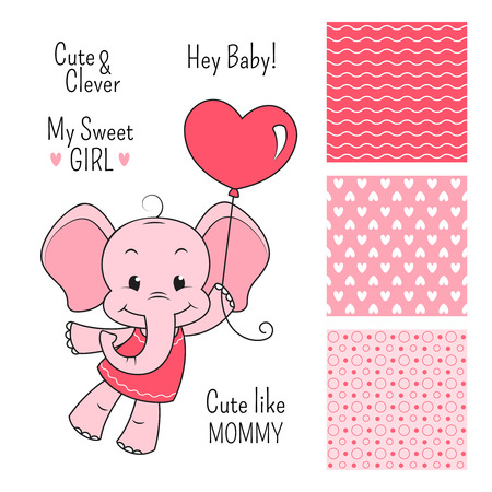 baby illustration: Baby elephant pink design set with seamless patterns Illustration
