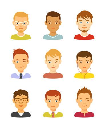 Man avatar vector icons set. Male avatars Illustration