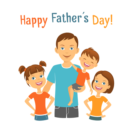 Happy fathers day Dad with kids Illustration
