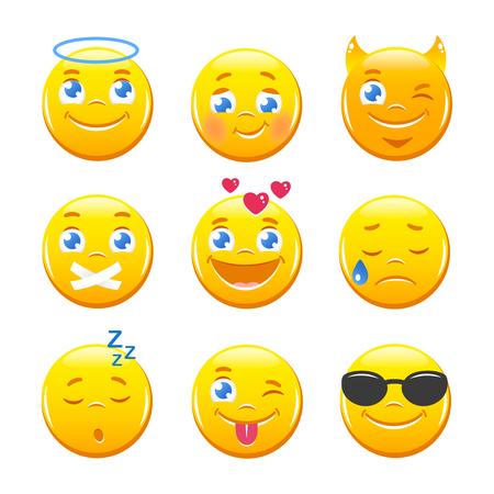 happy people: Cute cartoon emoticons. Emoji icons vector set. Yellow smiley faces