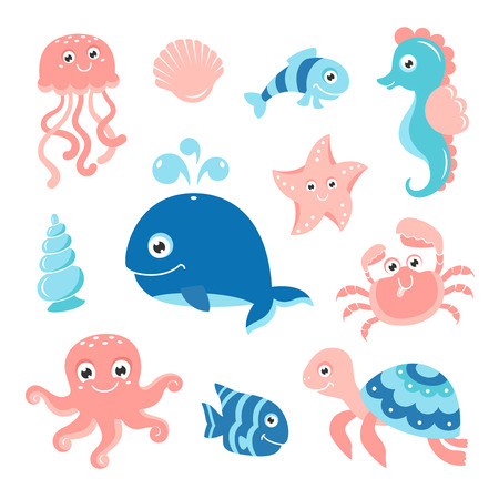 Ocean set with cartoon sea animals for baby shower scrapbooking and birthday designs.