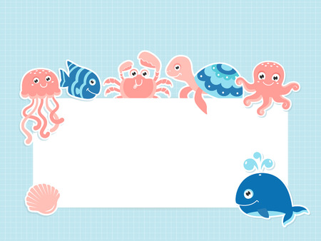 Greeting card template with cute sea animals and text space Illustration