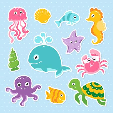 Ocean set with cute sea animals
