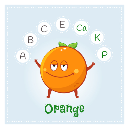 Orange fruit vitamins and minerals. Funny fruit character. Healthy food illustration