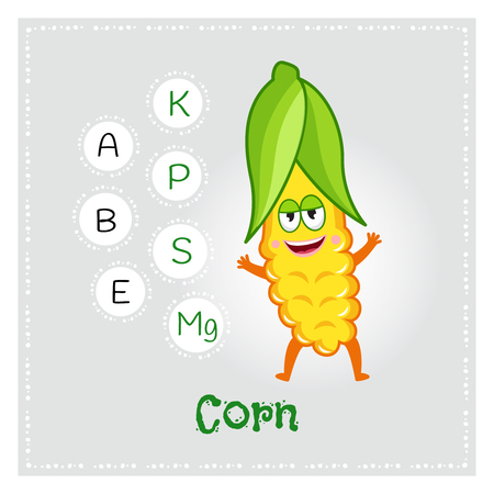 Corn vegetable vitamins and minerals. Funny vegetable character. Healthy food illustration