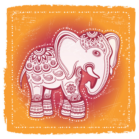 Ethnic elephant on tribal background. Indian god Ganesha. Indian symbol for prints and posters.