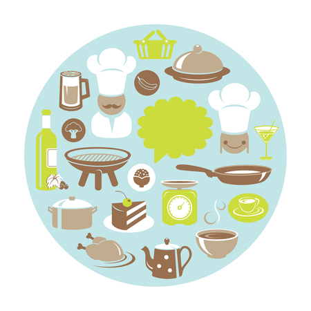 Food and drink concept round card with chef and cooking appliances