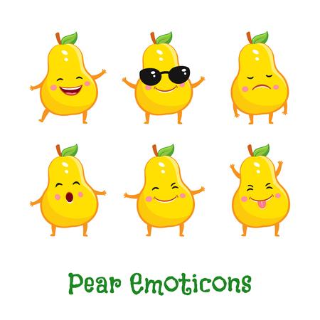 Pear smiles. Cute cartoon emoticons. Emoji icons Illustration