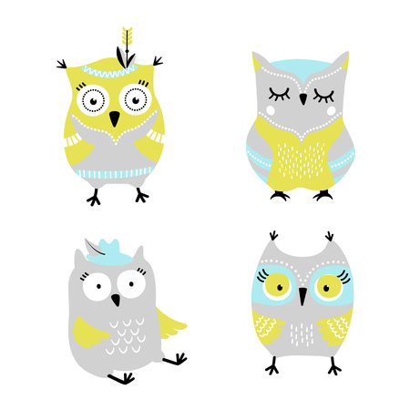 Cute cartoon owls hand drawn vector set
