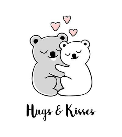 Hugs and kisses. Hand drawn greeting card with Valentines day quote