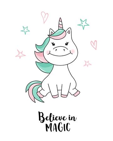 Unicorn believe in magic. Vector unicorn quote illustration Illustration