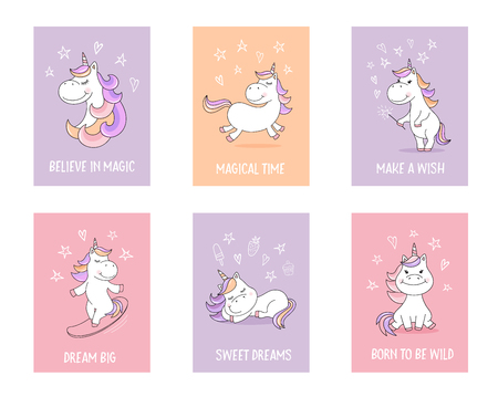 Cute unicorn greeting cards with quotes and magical symbols