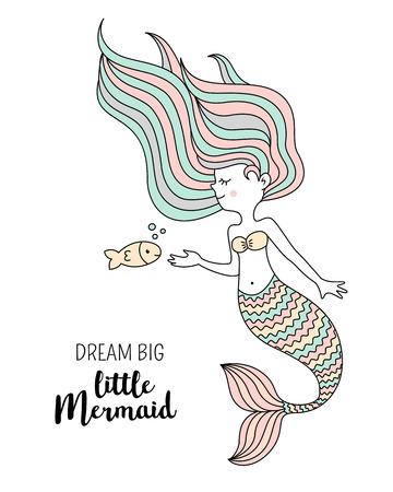 Cute little mermaid with fish. Under the sea vector illustration. Dream big little mermaid. 일러스트