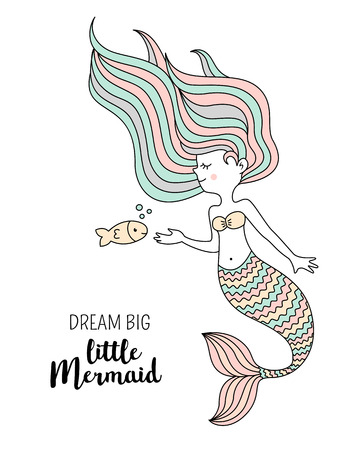 Cute little mermaid with fish. Under the sea vector illustration. Dream big little mermaid. Çizim